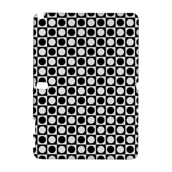 Modern Dots In Squares Mosaic Black White Samsung Galaxy Note 10.1 (P600) Hardshell Case