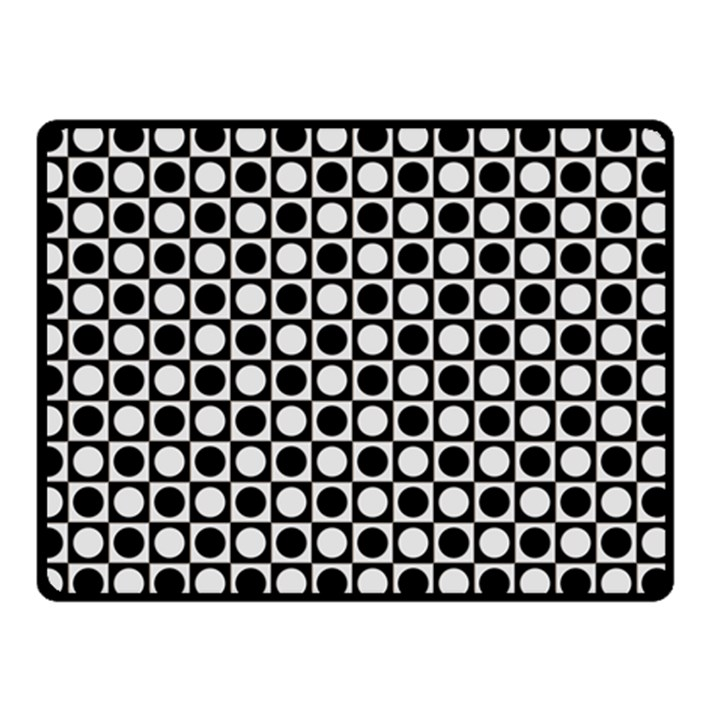 Modern Dots In Squares Mosaic Black White Double Sided Fleece Blanket (Small)