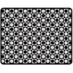 Modern Dots In Squares Mosaic Black White Double Sided Fleece Blanket (Medium)  58.8 x47.4 Blanket Back