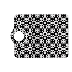 Modern Dots In Squares Mosaic Black White Kindle Fire Hd (2013) Flip 360 Case by EDDArt