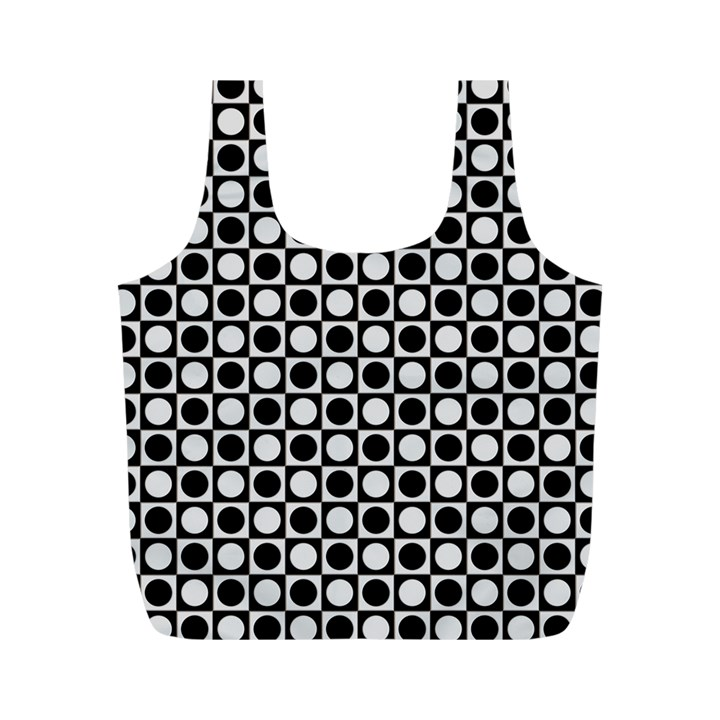 Modern Dots In Squares Mosaic Black White Full Print Recycle Bags (M)