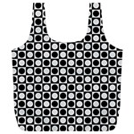 Modern Dots In Squares Mosaic Black White Full Print Recycle Bags (L)  Back