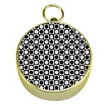 Modern Dots In Squares Mosaic Black White Gold Compasses