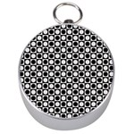 Modern Dots In Squares Mosaic Black White Silver Compasses
