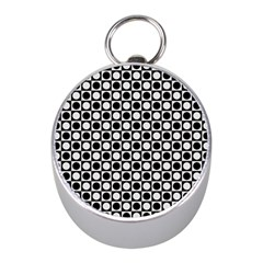 Modern Dots In Squares Mosaic Black White Mini Silver Compasses by EDDArt