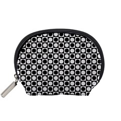 Modern Dots In Squares Mosaic Black White Accessory Pouches (Small)