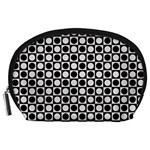 Modern Dots In Squares Mosaic Black White Accessory Pouches (Large)