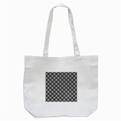 Modern Dots In Squares Mosaic Black White Tote Bag (White)