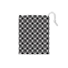 Modern Dots In Squares Mosaic Black White Drawstring Pouches (Small)