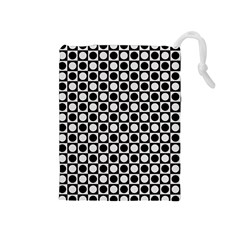 Modern Dots In Squares Mosaic Black White Drawstring Pouches (Medium)