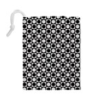 Modern Dots In Squares Mosaic Black White Drawstring Pouches (Large)  Back