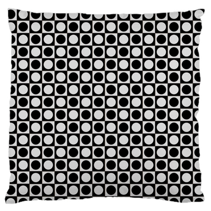 Modern Dots In Squares Mosaic Black White Large Flano Cushion Case (One Side)