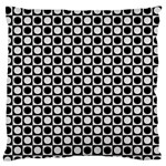 Modern Dots In Squares Mosaic Black White Large Flano Cushion Case (Two Sides) Front