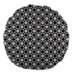 Modern Dots In Squares Mosaic Black White Large 18  Premium Flano Round Cushions Back