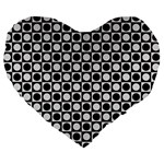 Modern Dots In Squares Mosaic Black White Large 19  Premium Flano Heart Shape Cushions