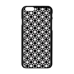 Modern Dots In Squares Mosaic Black White Apple Iphone 6/6s Black Enamel Case by EDDArt