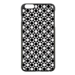 Modern Dots In Squares Mosaic Black White Apple Iphone 6 Plus/6s Plus Black Enamel Case by EDDArt