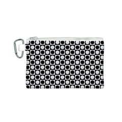 Modern Dots In Squares Mosaic Black White Canvas Cosmetic Bag (s) by EDDArt