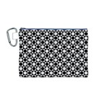 Modern Dots In Squares Mosaic Black White Canvas Cosmetic Bag (M)