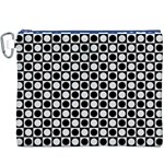 Modern Dots In Squares Mosaic Black White Canvas Cosmetic Bag (XXXL)