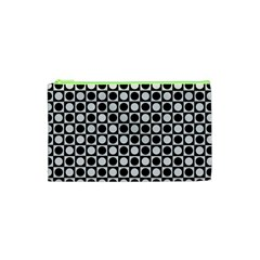 Modern Dots In Squares Mosaic Black White Cosmetic Bag (xs)