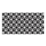 Modern Dots In Squares Mosaic Black White Satin Shawl
