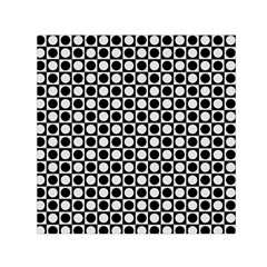 Modern Dots In Squares Mosaic Black White Small Satin Scarf (Square)