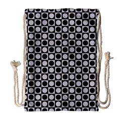 Modern Dots In Squares Mosaic Black White Drawstring Bag (large) by EDDArt
