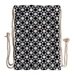 Modern Dots In Squares Mosaic Black White Drawstring Bag (Large) Back