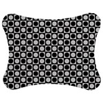 Modern Dots In Squares Mosaic Black White Jigsaw Puzzle Photo Stand (Bow)