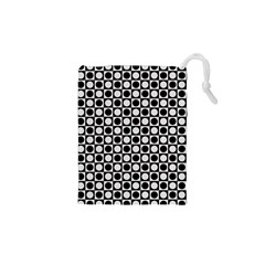 Modern Dots In Squares Mosaic Black White Drawstring Pouches (XS)