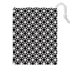 Modern Dots In Squares Mosaic Black White Drawstring Pouches (xxl) by EDDArt