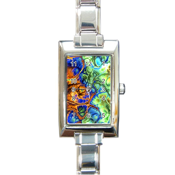 Abstract Fractal Batik Art Green Blue Brown Rectangle Italian Charm Watch