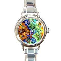 Abstract Fractal Batik Art Green Blue Brown Round Italian Charm Watch by EDDArt