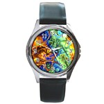 Abstract Fractal Batik Art Green Blue Brown Round Metal Watch Front