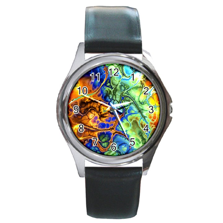 Abstract Fractal Batik Art Green Blue Brown Round Metal Watch
