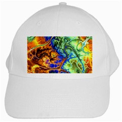 Abstract Fractal Batik Art Green Blue Brown White Cap by EDDArt