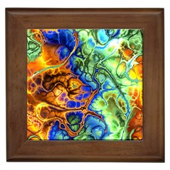 Abstract Fractal Batik Art Green Blue Brown Framed Tiles by EDDArt