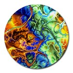 Abstract Fractal Batik Art Green Blue Brown Round Mousepads