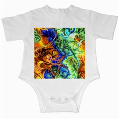 Abstract Fractal Batik Art Green Blue Brown Infant Creepers