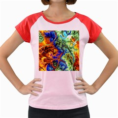 Abstract Fractal Batik Art Green Blue Brown Women s Cap Sleeve T Shirt by EDDArt