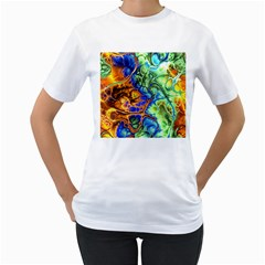 Abstract Fractal Batik Art Green Blue Brown Women s T Shirt (white) (two Sided) by EDDArt