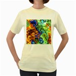 Abstract Fractal Batik Art Green Blue Brown Women s Yellow T-Shirt