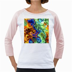 Abstract Fractal Batik Art Green Blue Brown Girly Raglans