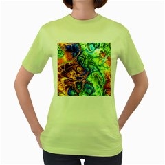 Abstract Fractal Batik Art Green Blue Brown Women s Green T Shirt by EDDArt