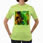 Abstract Fractal Batik Art Green Blue Brown Women s Green T-Shirt