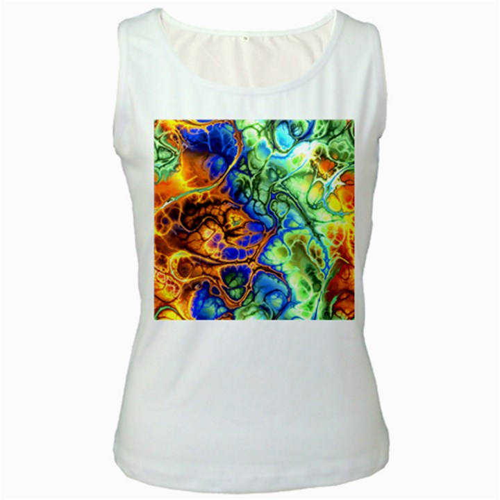 Abstract Fractal Batik Art Green Blue Brown Women s White Tank Top