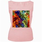 Abstract Fractal Batik Art Green Blue Brown Women s Pink Tank Top