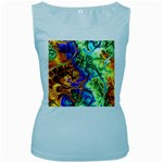 Abstract Fractal Batik Art Green Blue Brown Women s Baby Blue Tank Top