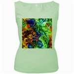 Abstract Fractal Batik Art Green Blue Brown Women s Green Tank Top